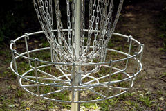 Golf basket close-up of basket and chains Royalty Free Stock Photos