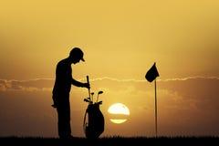 Golf bij zonsondergang royalty-vrije illustratie