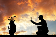 Golf bij zonsondergang stock illustratie