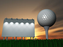 Golf and Billboard. At sunset or sunrise vector illustration