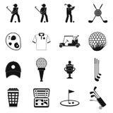 Golf black simple icons set Royalty Free Stock Photos