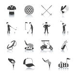 Golf Black White Icons Set Royalty Free Stock Photos
