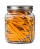 Golf-Bleistifte in einem Glas lokalisiert Lizenzfreie Stockfotos