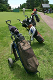 Golf Bolsas de Palos_0008. Several golf bags on a golf course royalty free stock photos