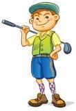 Golf Boy. Cartoon illustration of boy with golf stick Stock Images