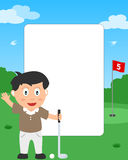 Golf Boy Photo Frame. Photo frame, invitation card or page for your scrapbook. Subject: a boy playing golf in a park. Eps file available Stock Photography
