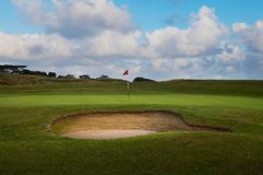 Golf bunker and green Royalty Free Stock Images