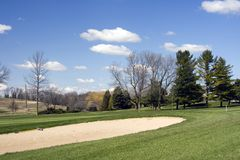Golf Bunker Hazard. Spring view of a large golf club hazard. Bunker or sand trap. Wisconsin Golf stock photo