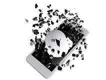 Golf burst out of the smartphone Stock Photos