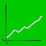 Golf business concept. Graph to growth with golf clubs and ball, on green royalty free stock photos