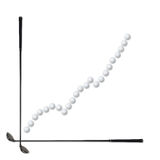 Golf business concept. Graph to growth with golf clubs and ball, on white royalty free stock image