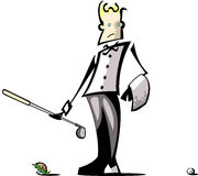Golf Caddy Illustration. Golf caddy viewing failed tee-off (illustration Royalty Free Stock Photo