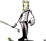 Golf Caddy Illustration. Golf caddy viewing failed tee-off (illustration vector illustration