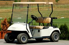 Golf car. Small golf car waiting for golfers Stock Photo