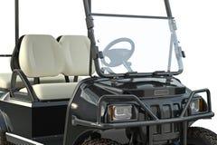 Golf car equipment, close view. Golf car black golfing equipment, close view. 3D graphic vector illustration