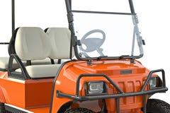 Golf car equipment, close view. Golf car orange golfing equipment, close view. 3D graphic vector illustration