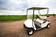 Golf car on the golf course in luxury resort Stock Photo