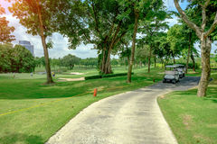 Golf car in green grass background in golf course ,Bangkok Thail. And Stock Photos
