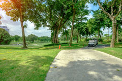 Golf car in green grass background in golf course ,Bangkok Thail. And Stock Photo