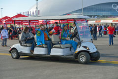 Golf car in the Olympic park Royalty Free Stock Photography