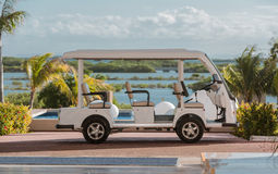 Golf car parked against  tropical background Royalty Free Stock Photos