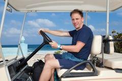 Golf car on the seashore. Mexico. Women Island. Royalty Free Stock Image