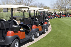 Golf Cars at Arizona Desert Golf Course Royalty Free Stock Photos