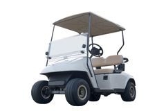 Golf Cart. This is a low angle picture of a modern golf car isolated on white Royalty Free Stock Photos