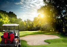 Golf cart. Golf car on the golf course Royalty Free Stock Image