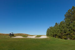 Golf Cart Above Sand Trap stock photos