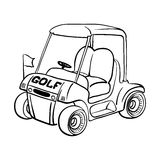 Golf cart. Abstract isolated vector golf cart. Line black and white sketch Royalty Free Stock Photos