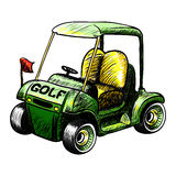Golf cart. Abstract isolated vector golf cart. Line black and white sketch Royalty Free Stock Images