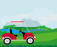 Golf cart at the beautiful golf course Stock Image