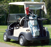 Golf cart. BROMONT QUEBEC CANADA 06 14 2016:Golf cart at the Royal Bromont Golf Club offers an exceptional view of the surrounding mountains right in the heart Royalty Free Stock Photos