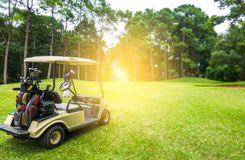 Golf cart and golfer on fairway in golf course royalty free stock photography