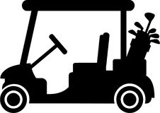 Golf Cart with Clubs. Vector Royalty Free Stock Images