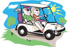 Golf Cart Couple Stock Image