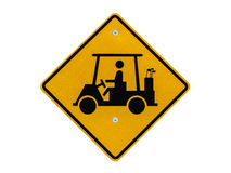 Golf Cart Crossing Caution Sign. Golf cart crossing caution road sign isolated with clipping path Stock Images