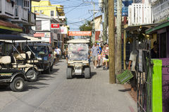 Golf Cart Cruising San Pedro, Belize Royalty Free Stock Images