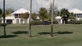 A golf cart driving past lush green field