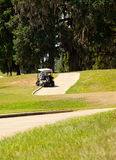 Golf Cart going off Cart Path Stock Photos