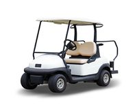 Golf cart golfcart isolated on white background. The Golf cart golfcart isolated on white background royalty free stock photography
