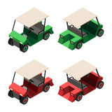 Golf cart isometric view. Golf cart. Set of golf cart in red and green colors. Front and rear side isometric 3d view. Vector  illustration Stock Photo