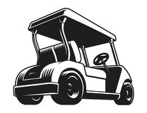 Golf cart. Monochrome icon, isolated on white stock illustration