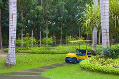 Golf cart on path, pretty green grass Royalty Free Stock Photos