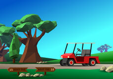 Golf cart on road. Red golf vehicle on golf course with green field tree and tee sign under blue sky. Vector colorful illustration Stock Photos