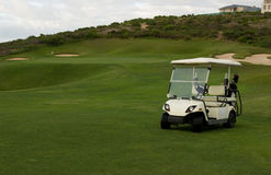 Golf cart at seaside holiday resort Royalty Free Stock Photo