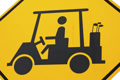 Golf cart sign. Warning sign - Golf carts crossign the road Stock Image