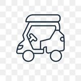 Golf cart vector icon isolated on transparent background, linear royalty free illustration
