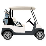 Golf cart. Vector illustration of golf cart with blue golf clubs bag. Sport equipment. Golf club Royalty Free Stock Image